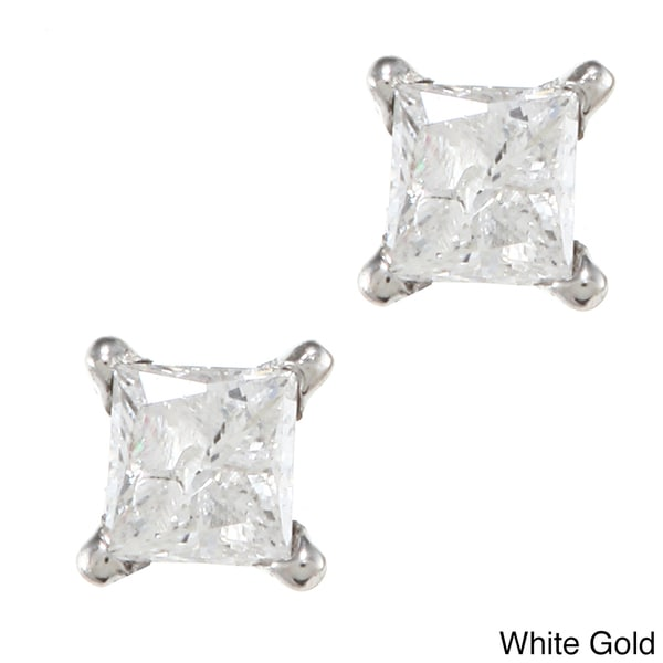 14k Yellow and White Gold 1/8ct Diamond Stud Earrings