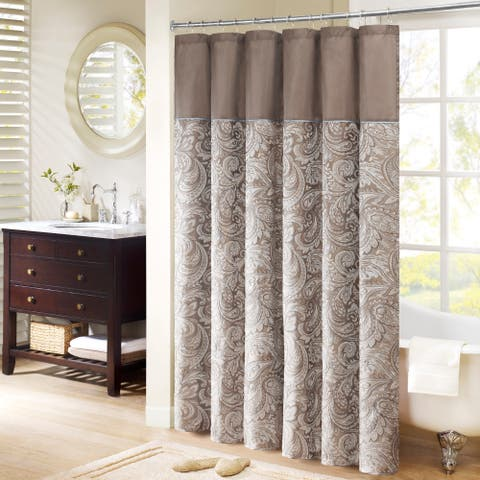 Madison Park Whitman Brown Jacquard Faux Silk Shower Curtain