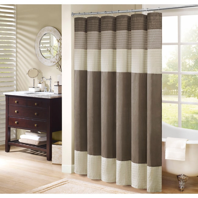 Madison Park Soloman Pieced Faux Silk Shower Curtain (4 Options Available)