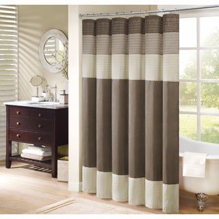 Madison Park Soloman Pieced Faux Silk Shower Curtain - Thumbnail 0