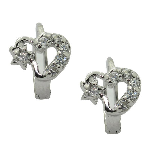 Gioelli Sterling Silver Cubic Zirconia Heart and Star Earrings