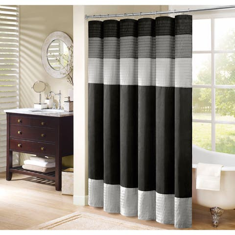 Madison Park Infinity Black Pieced Faux Silk Shower Curtain