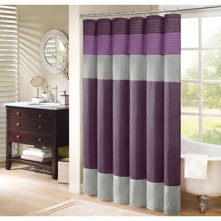 Clay Alder Home Niantic Purple Strip Faux Silk Shower Curtain