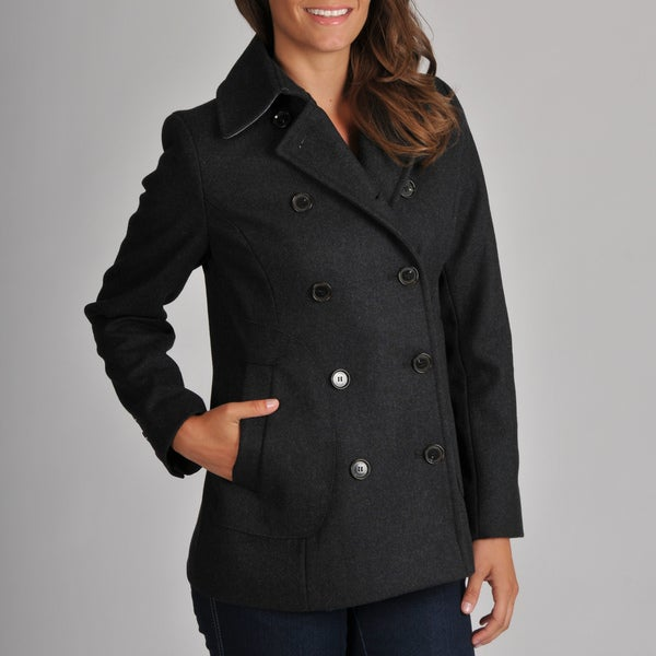 Tommy Hilfiger Women's Charcoal Wool Pea Coat