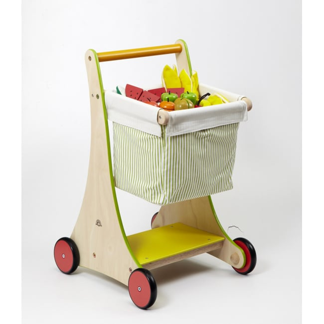Wonder Toys Rubber Wood Non-toxic Shopping Cart with Removable Bag