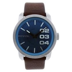 Diesel Men's DZ1512 Double Down Blue Dial Brown Leather Strap Watch