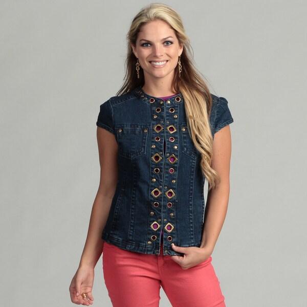 Live A Little Women's Denim Grommet Vest