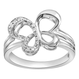 Bridal Symphony Sterling Silver Diamond Accent Butterfly Ring