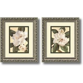 Framed Art Print 'Magnolias - set of 2' by Waltraud Fuchs Von Schwarzbek 11 x 13-inch Each