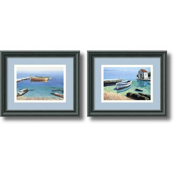 Framed Art Print 'Peaceful Morning - set of 2' by Frane Mlinar 12 x 10-inch Each