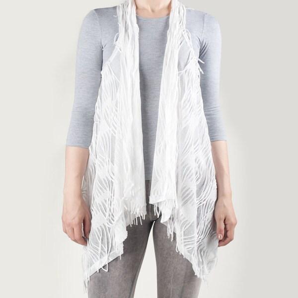Tabeez Women's Sheer White Fringe Vest