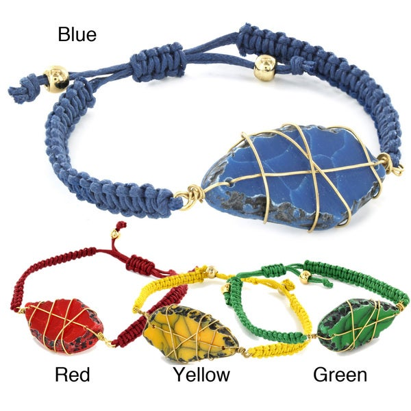 West Coast Jewelry Colored Marble and Woven Rope Bracelet