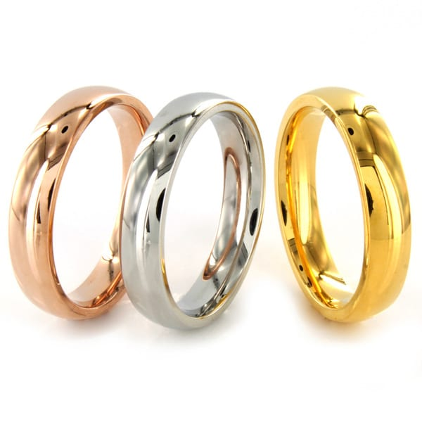 West Coast Jewelry Stainless Steel Stackable Tri-tone Rings
