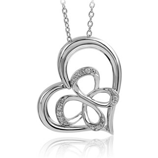 Bridal Symphony Sterling Silver Diamond Accent Butterfly Heart Necklace