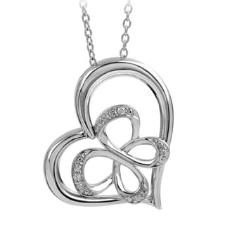 Bridal Symphony Sterling Silver 0.05CTtw Diamond Accent Butterfly Heart Necklace (I-J, I2-I3)