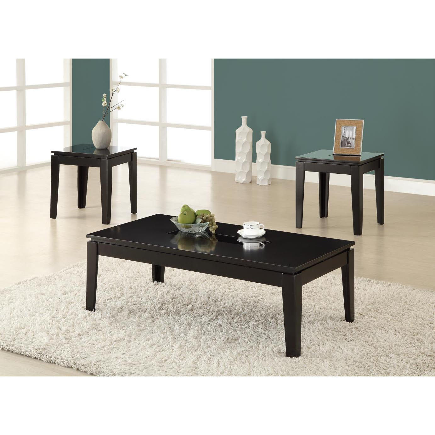 Glossy Black Grain 3-piece Promotional Table Set