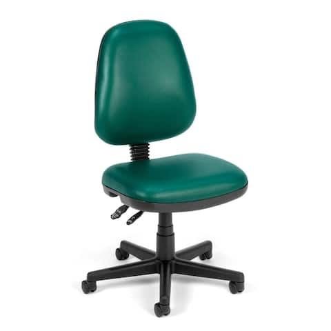OFM Straton Series Armless Swivel Task Chair, Anti-Microbial/Anti-Bacterial Vinyl, Mid Back (119-VAM)