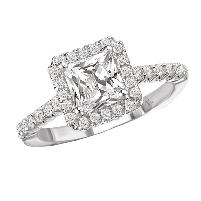 Avanti 14k White Gold 3/8ct TDW Diamond and CZ Center Engagement Ring (G-H, SI1-SI2)