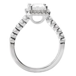 Avanti 14k White Gold 3/8ct TDW Diamond and CZ Center Engagement Ring (G-H, SI1-SI2) - Thumbnail 1