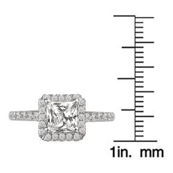 Avanti 14k White Gold 3/8ct TDW Diamond and CZ Center Engagement Ring (G-H, SI1-SI2) - Thumbnail 2