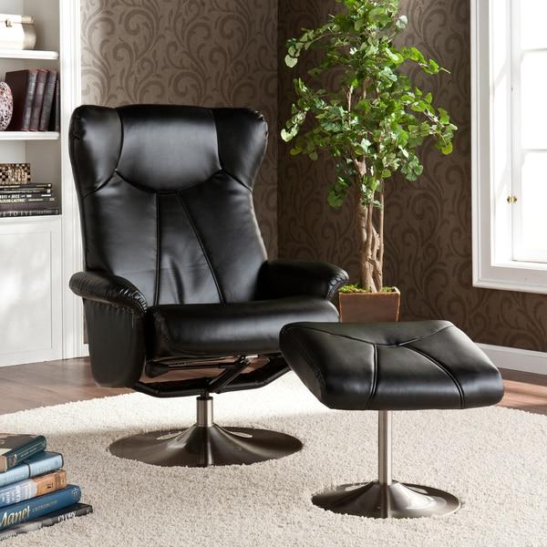 Mcpherson Black Leather Recliner/ Ottoman