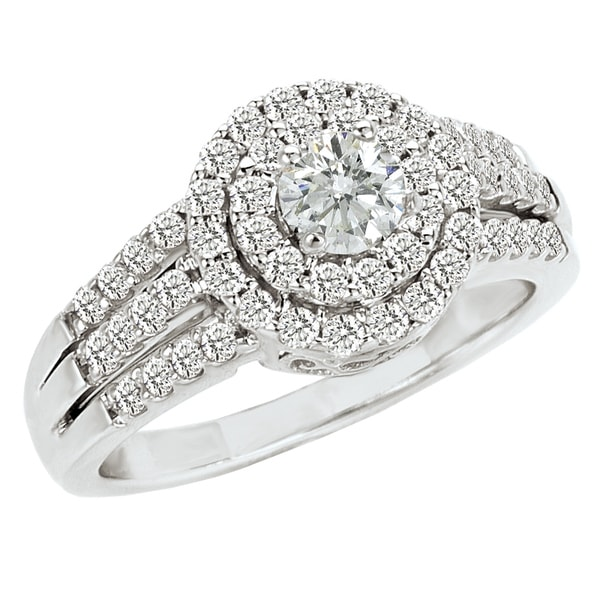 Avanti 14k White Gold 1ct TDW Diamond Halo Engagement Ring (G-H, SI1-SI2)