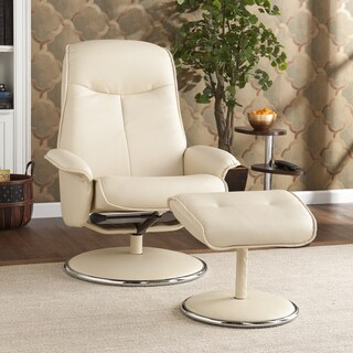 Acton Ivory Leather Recliner/ Ottoman