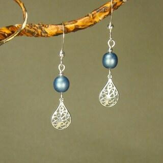 Jewelry by Dawn Filigree Teardrop Blue Sterling Silver Earrings