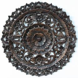 Handmade Round Black Stain/Dark-wax Finish Carved Lotus Recycled Teak Panel (Thailand)