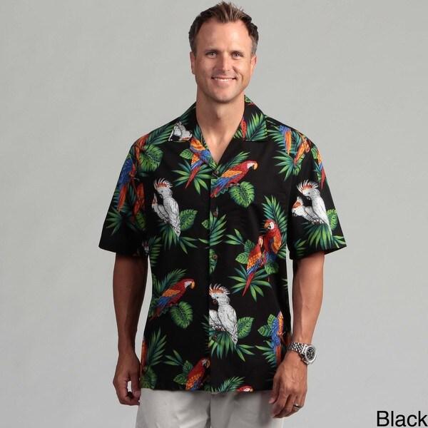 Pacific Legends Men's 'Parrot Palms' Aloha Shirt