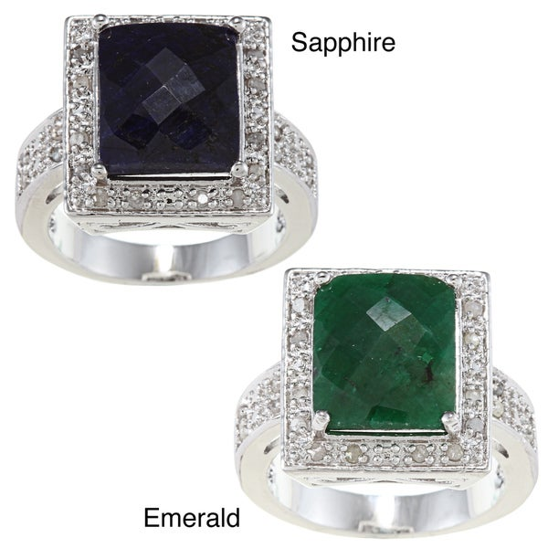 Silvertone Rough-Cut Gemstone and 1/4-CT TDW Diamond Brass Ring (J-K, I3)