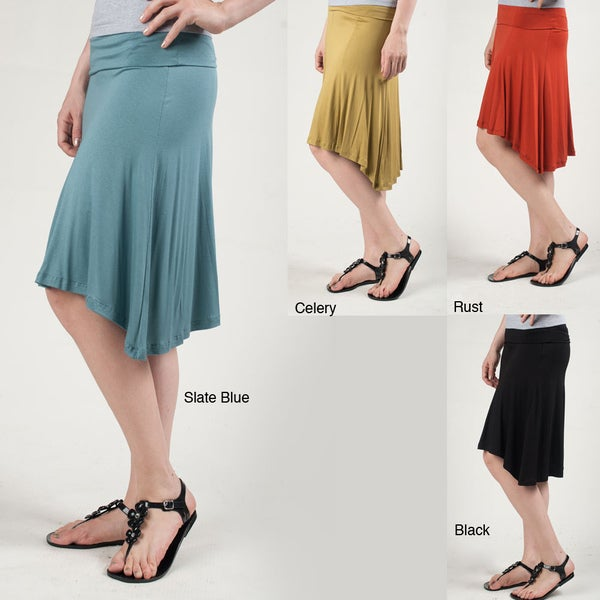 Tabeez Women's Fold-over High-low Skirt