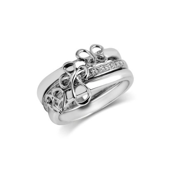 Sterling Silver 1/10CTtw Cross, Heart and Butterfly Stackable Ring