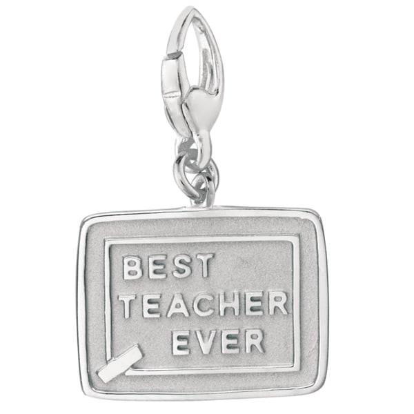 Sterling Silver Best Teacher Ever Charm