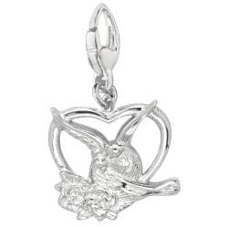Sterling Silver Doves in Heart Charm