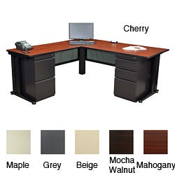 Regency Seating Fusion 66-inch Double Pedestal L-Desk with 42-inch Return