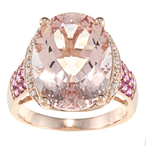 D'Yach 14k Gold Morganite, Sapphire and 1/10ct TDW Diamond Ring (G-H, I1-I2)