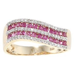Anika and August 14k Yellow gold Thai Rubies and 1/4ct TDW Diamonds Ring