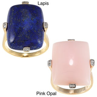 Anika and August Gold over Silver Pink Opal/ Lapis and Diamond Accent Ring