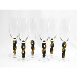 Gold/ Black Twisting Stem Champagne Flute Glass (Set of 6)