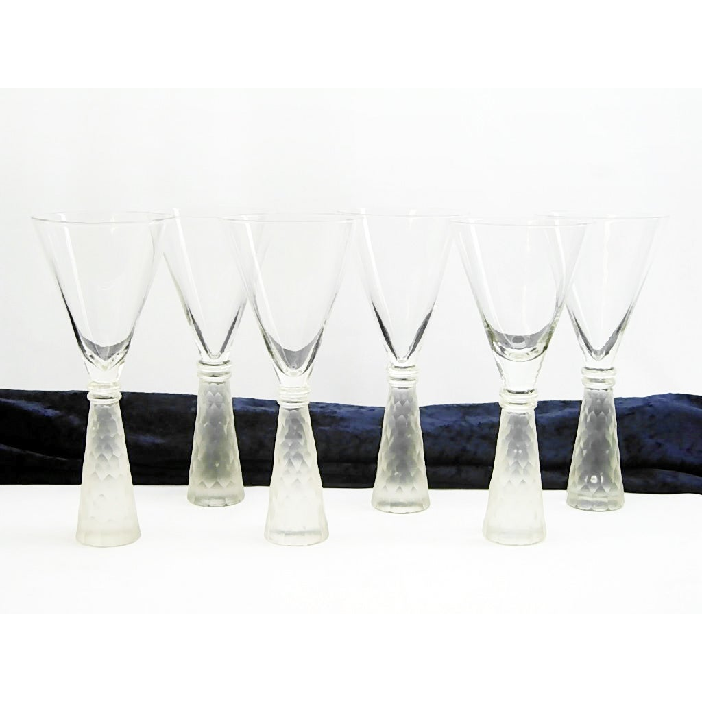 Frosted Decorated Base Martini/ Wine Glass (Set of 6)