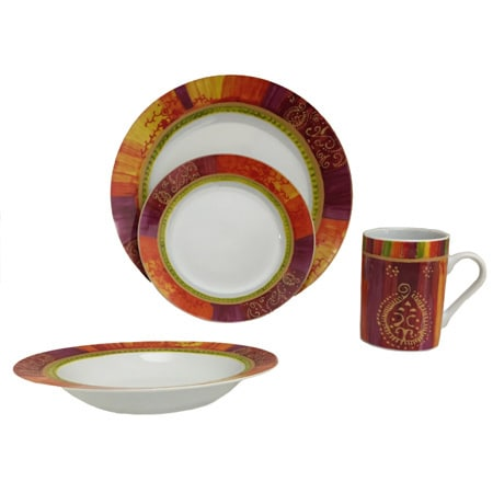 Sunset Yellow Dinnerware Set (16 Pieces)  sc 1 st  Overstock.com : overstock dinnerware sets - Pezcame.Com