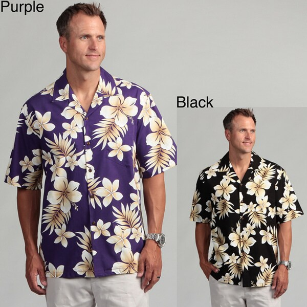 bf2a7409 Shop Pacific Legends Men's 'Hibiscus Plumeria' Aloha Shirt - Free ...