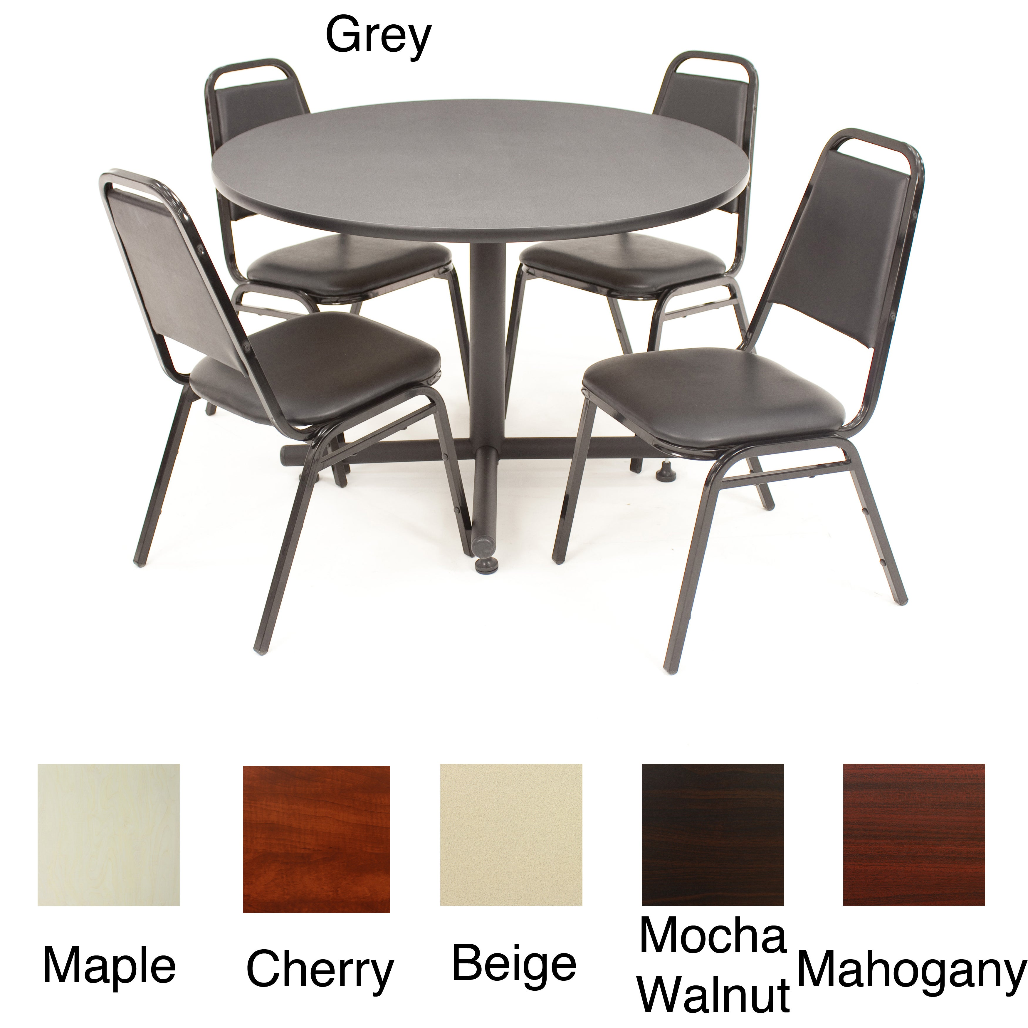 Regency Seating 42-inch Round Table and Four Stackable Chairs