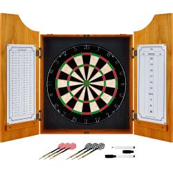 TG Solid Wood Dart Cabinet Set With Pro Style Board And Darts