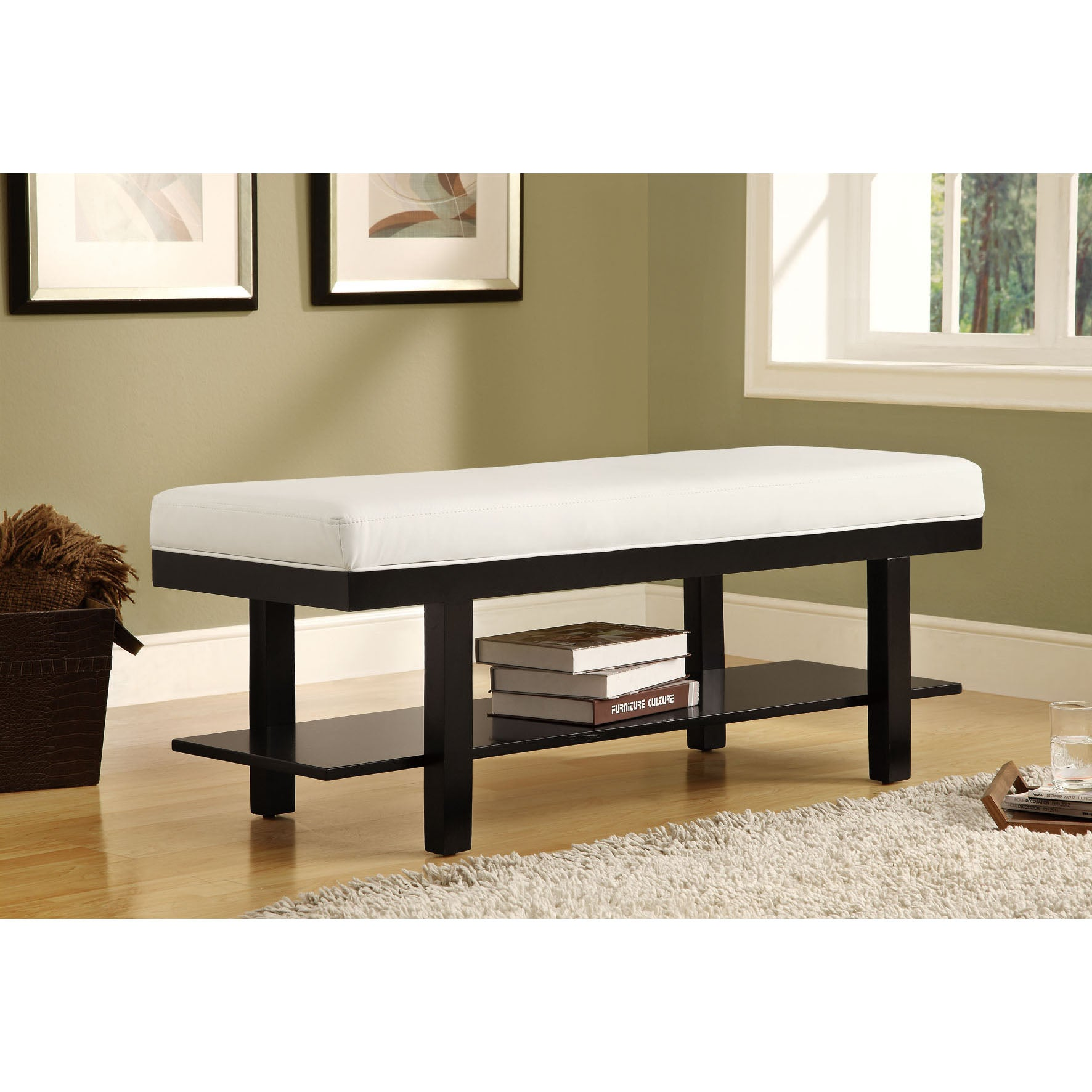 Black Solid Wood / White Leather-Look Bench