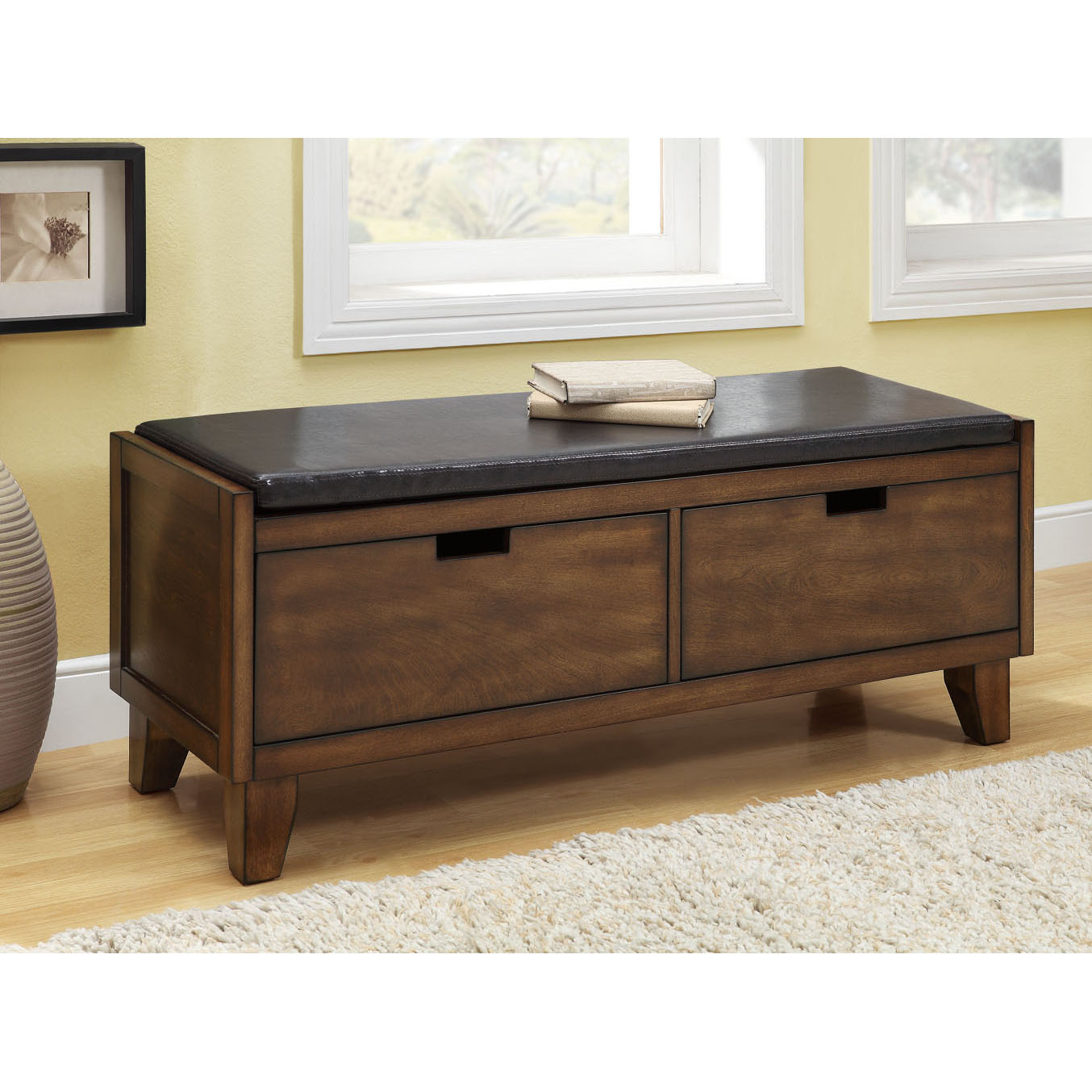 Dark Walnut Solid Wood Bench With Drawers Free Shipping