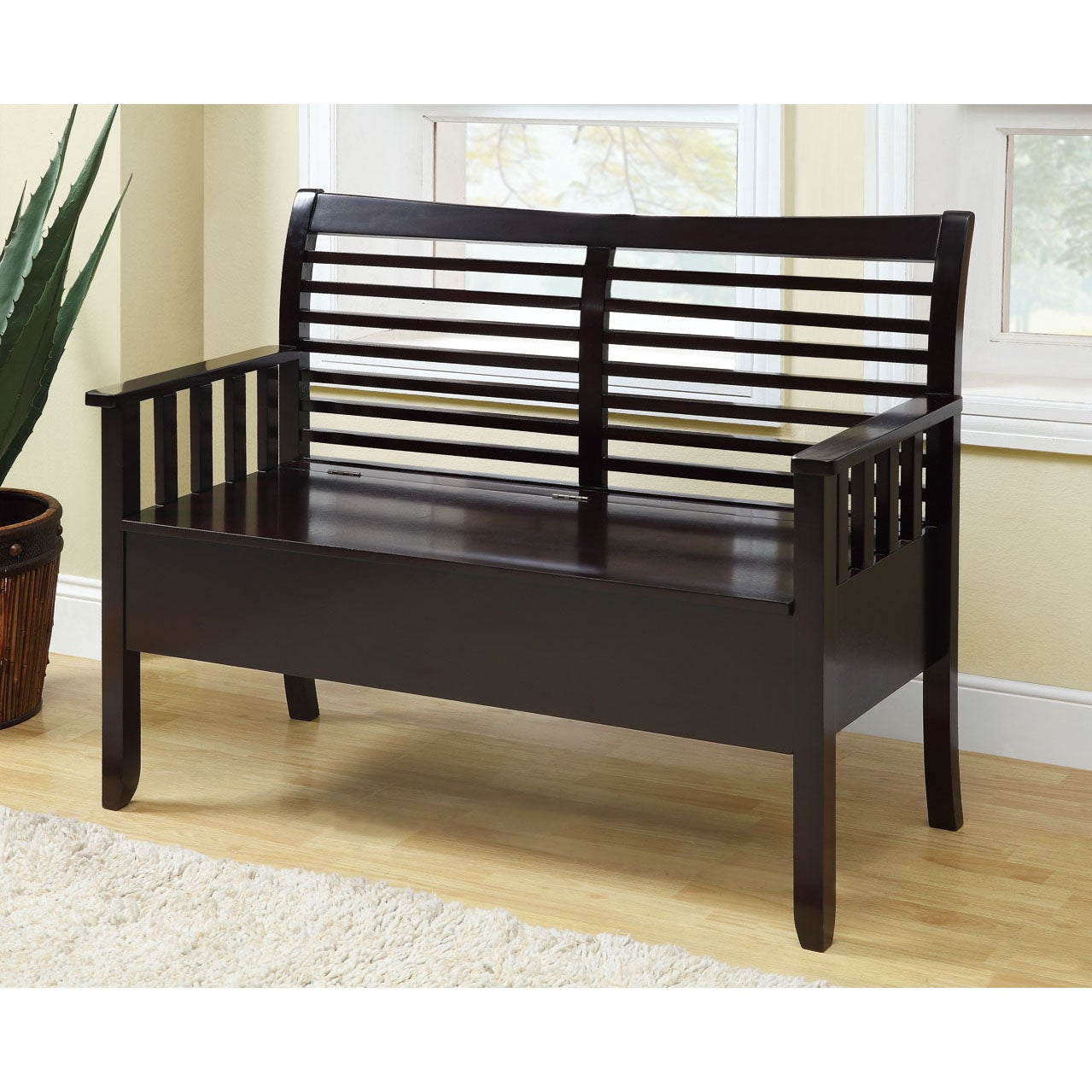 Cappuccino Solid Wood Slatted-Back Bench With Storage
