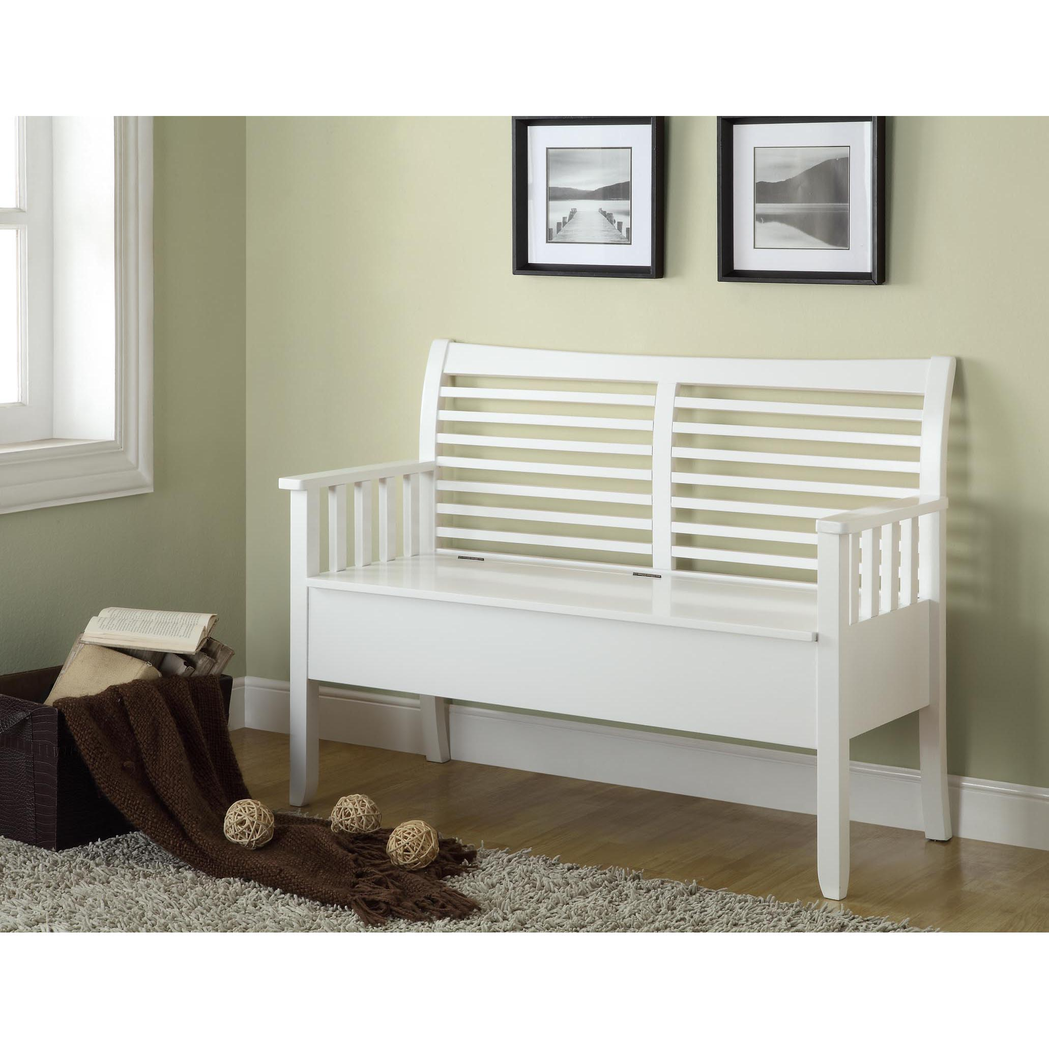 White Solid Wood Bench With Storage Top And Vertical Slats In Arms Free Shipping Today