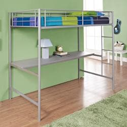 Twin/ Workstation Silver Bunk Bed